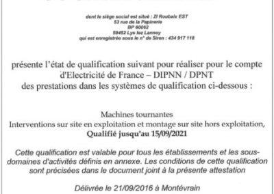 certification EDF Prestataire Hydraulique du Parc Nucléaire.